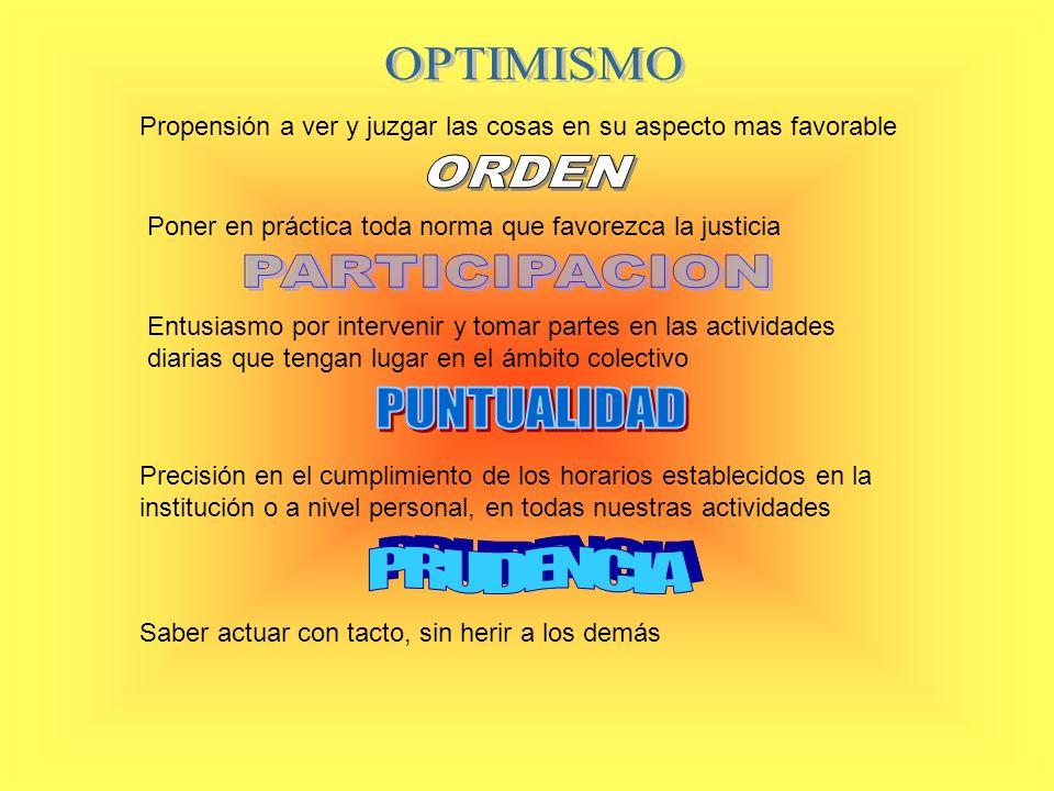 OPTIMISMO ORDEN PARTICIPACION PUNTUALIDAD PRUDENCIA