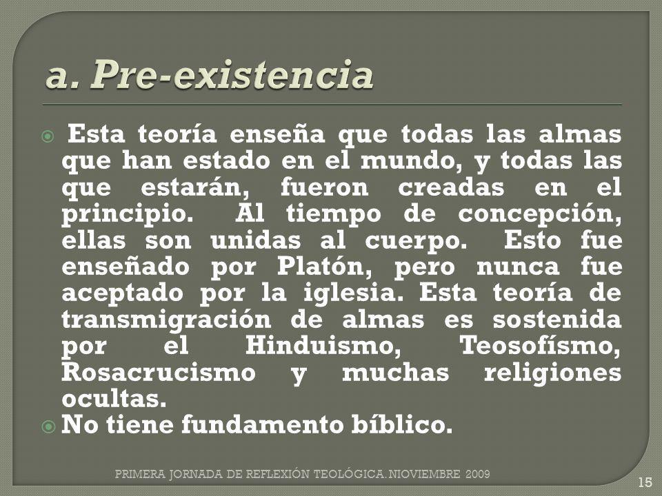 a. Pre-existencia No tiene fundamento bíblico.