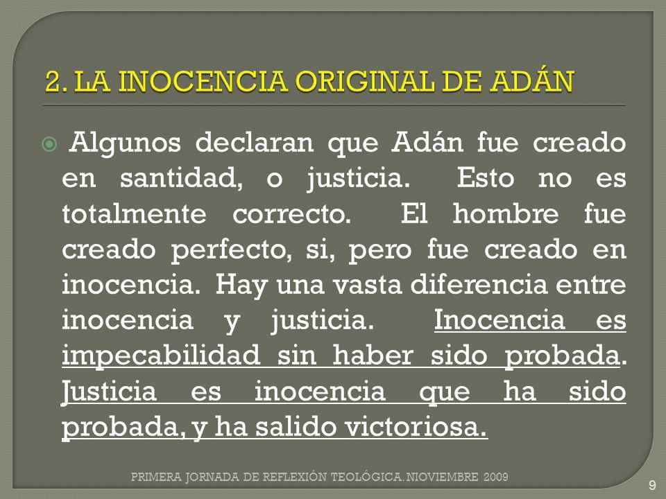2. LA INOCENCIA ORIGINAL DE ADÁN