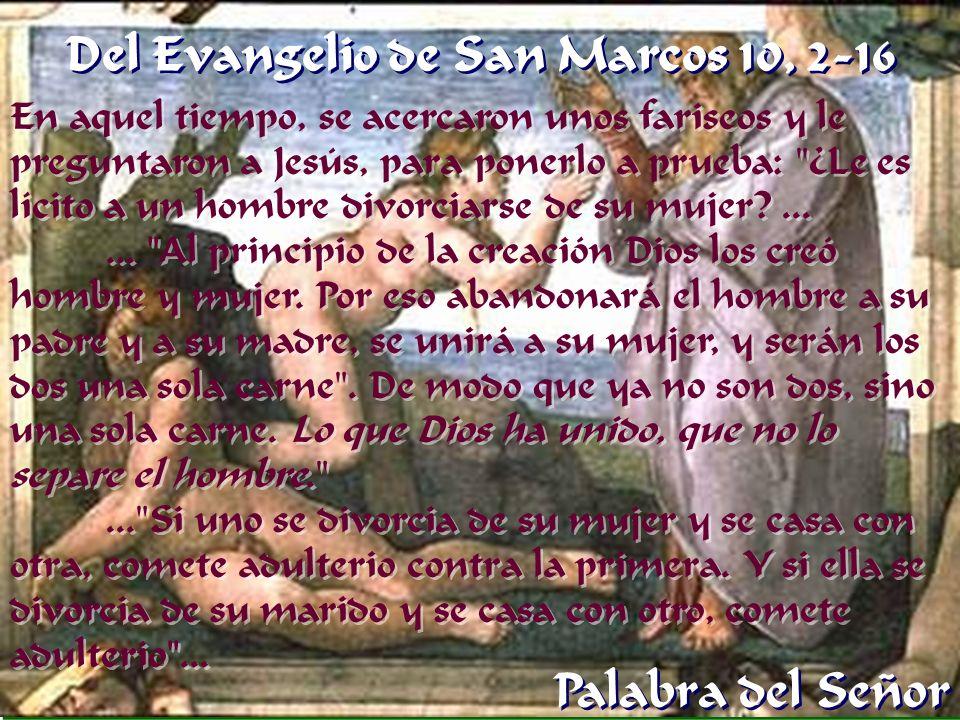 Del Evangelio de San Marcos 10, 2-16