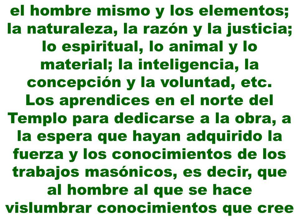 el hombre mismo y los elementos; la naturaleza, la razón y la justicia; lo espiritual, lo animal y lo material; la inteligencia, la concepción y la voluntad, etc.