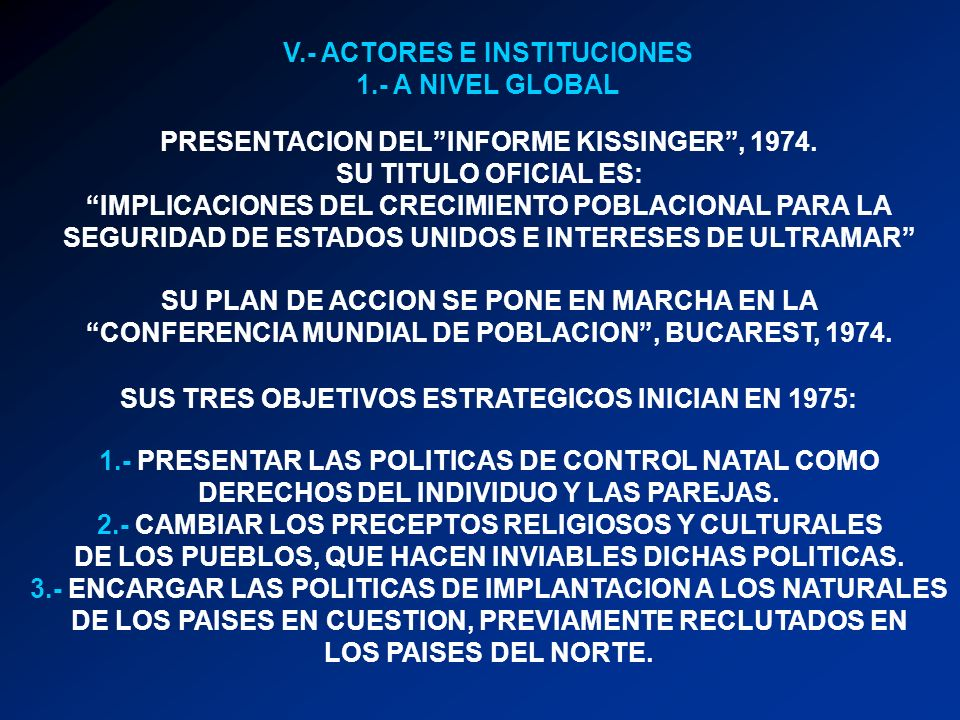 V.- ACTORES E INSTITUCIONES 1.- A NIVEL GLOBAL