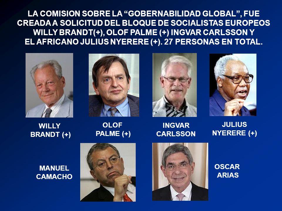 LA COMISION SOBRE LA GOBERNABILIDAD GLOBAL , FUE