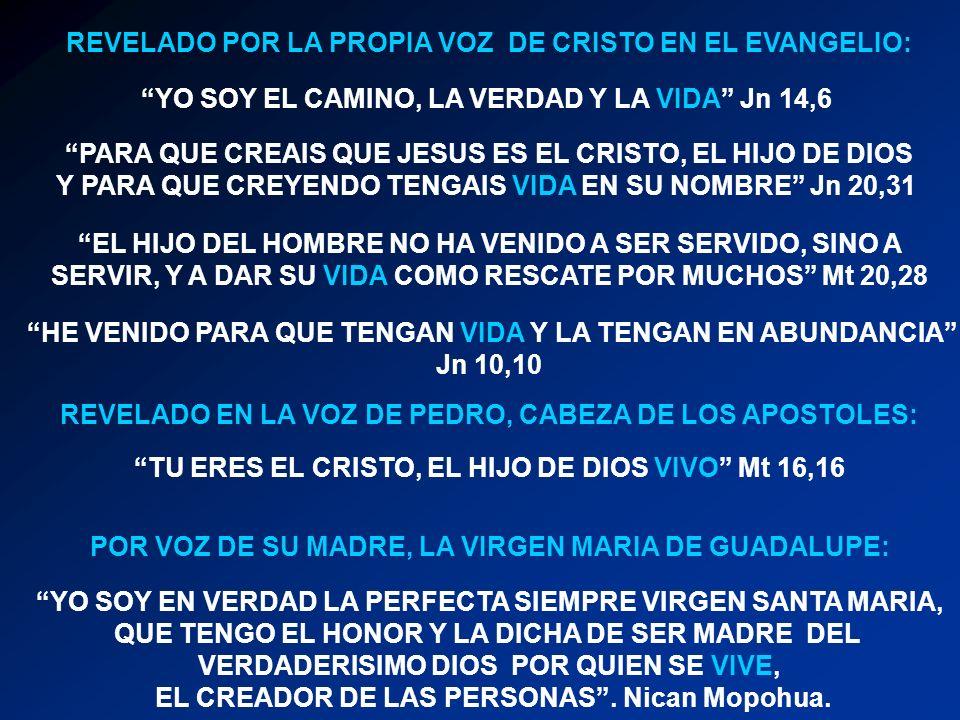 REVELADO POR LA PROPIA VOZ DE CRISTO EN EL EVANGELIO: