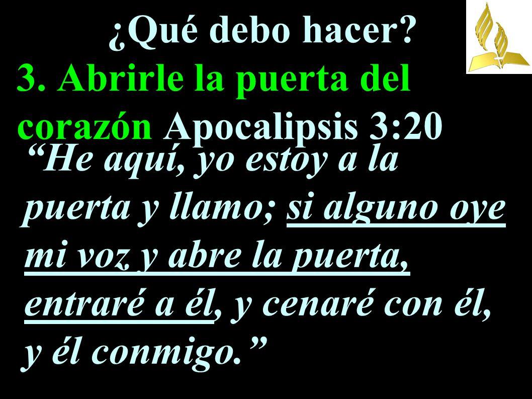 ¿Qué debo hacer 3. Abrirle la puerta del corazón Apocalipsis 3:20