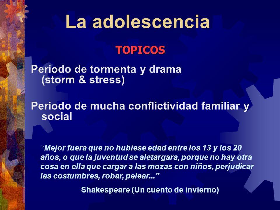 La adolescencia TOPICOS Periodo de tormenta y drama (storm & stress)
