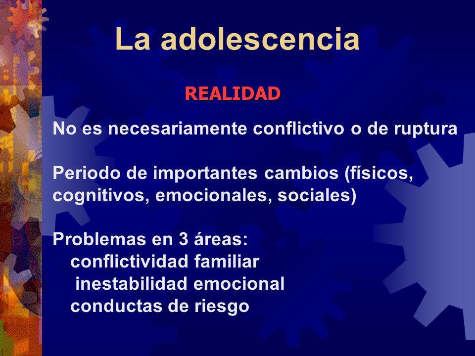 La adolescencia REALIDAD No es necesariamente conflictivo o de ruptura