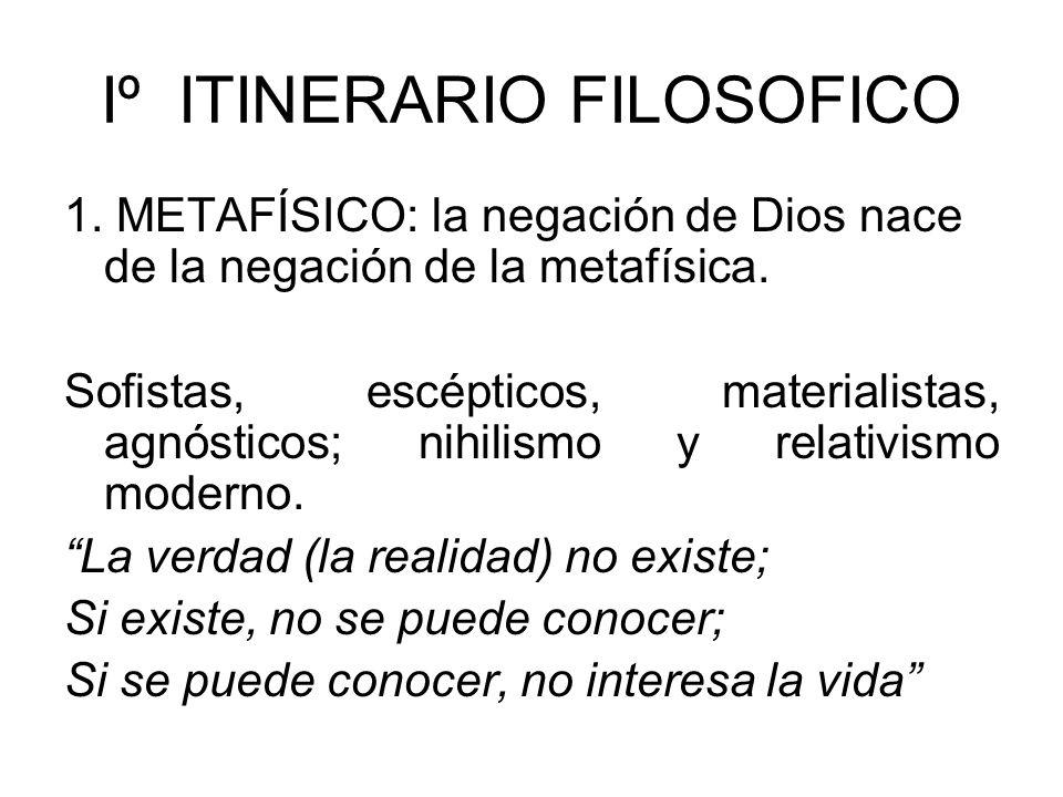 Iº ITINERARIO FILOSOFICO