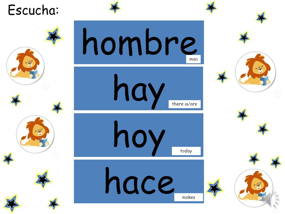 Escucha: hombre man hay there is/are hoy today hace makes
