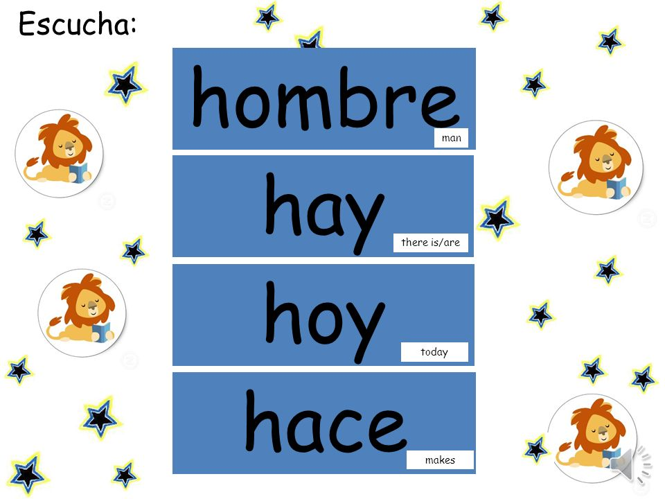 Escucha: hombre mamá man hay there is/are hoy today hace makes