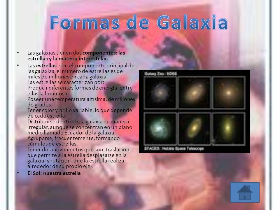 Formas de Galaxia Las galaxias tienen dos componentes: las estrellas y la materia interestelar.