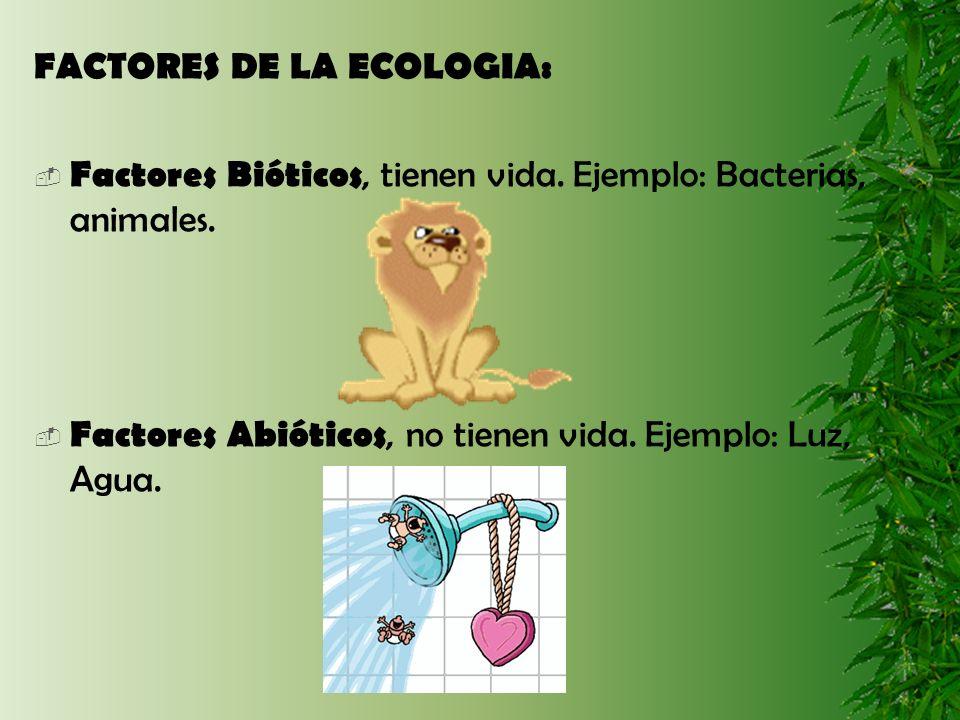 FACTORES DE LA ECOLOGIA: