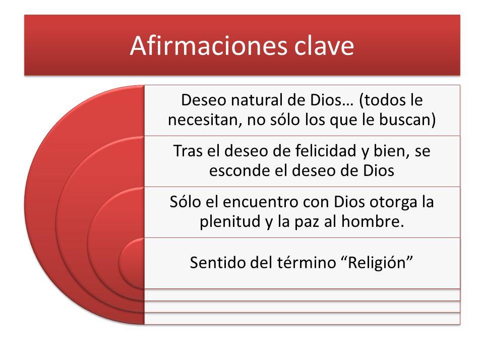 Afirmaciones clave Deseo natural de Dios… (todos le necesitan, no sólo los que le buscan)