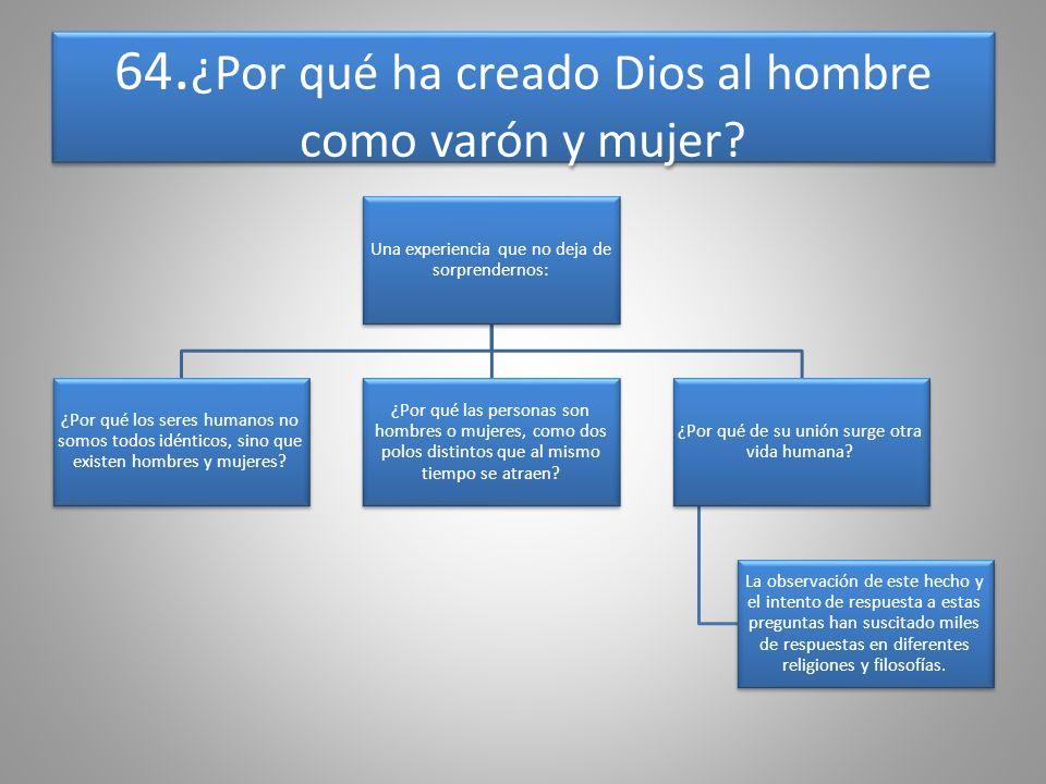 64.¿Por qué ha creado Dios al hombre como varón y mujer