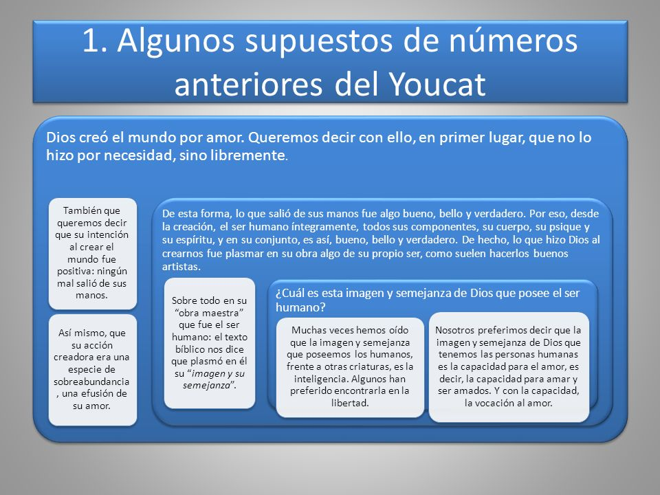 1. Algunos supuestos de números anteriores del Youcat