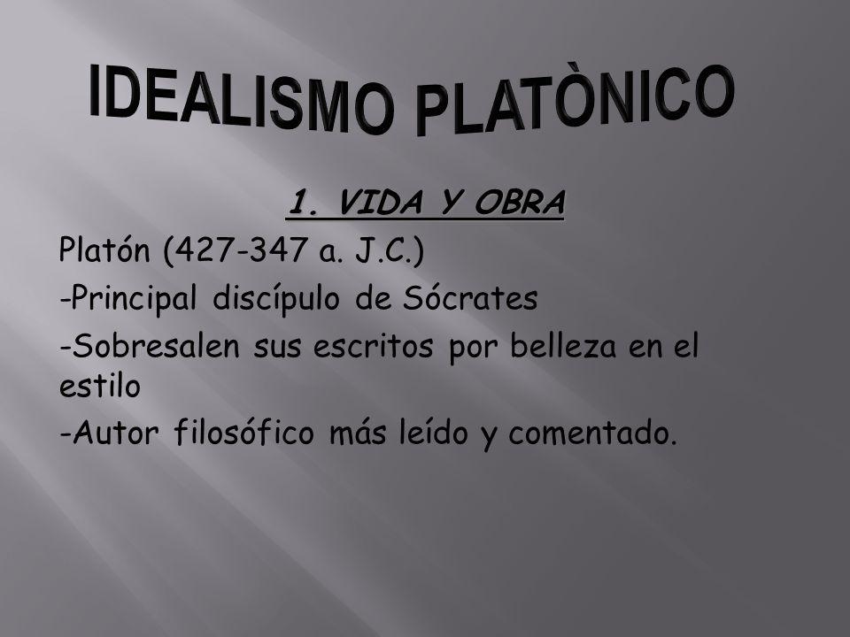 IDEALISMO PLATÒNICO 1. VIDA Y OBRA Platón (427-347 a. J.C.)
