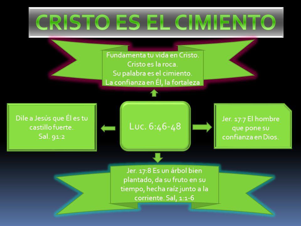 CRISTO ES EL CIMIENTO Luc. 6:46-48 Fundamenta tu vida en Cristo.