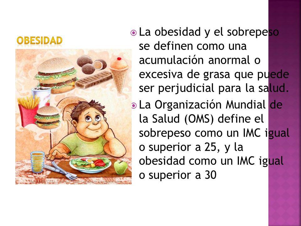 OBESIDADLa obesidad y el sobrepeso se definen como una acumulación anormal o excesiva de grasa que puede ser perjudicial para la salud.