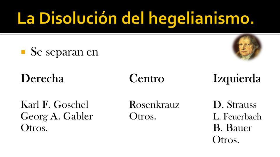 La Disolución del hegelianismo.