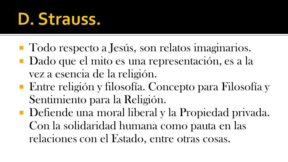 D. Strauss. Todo respecto a Jesús, son relatos imaginarios.