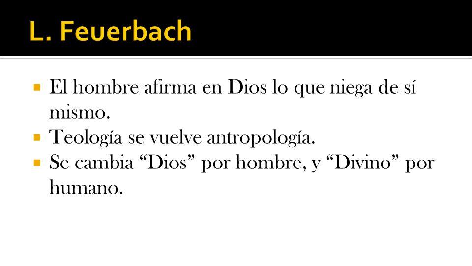 L. Feuerbach El hombre afirma en Dios lo que niega de sí mismo.