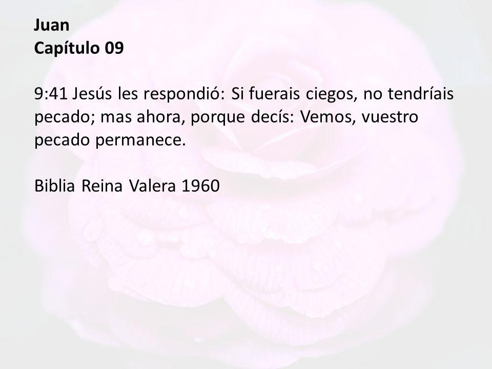 Juan Capítulo 09. 9:41 Jesús les respondió: Si fuerais ciegos, no tendríais pecado; mas ahora, porque decís: Vemos, vuestro pecado permanece.
