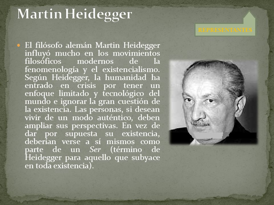 Martin Heidegger REPRESENTANTES.