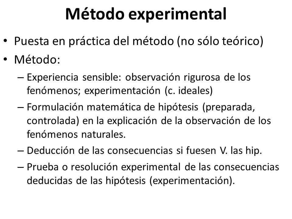 Método experimental Puesta en práctica del método (no sólo teórico)