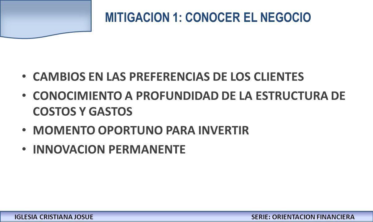 MITIGACION 1: CONOCER EL NEGOCIO