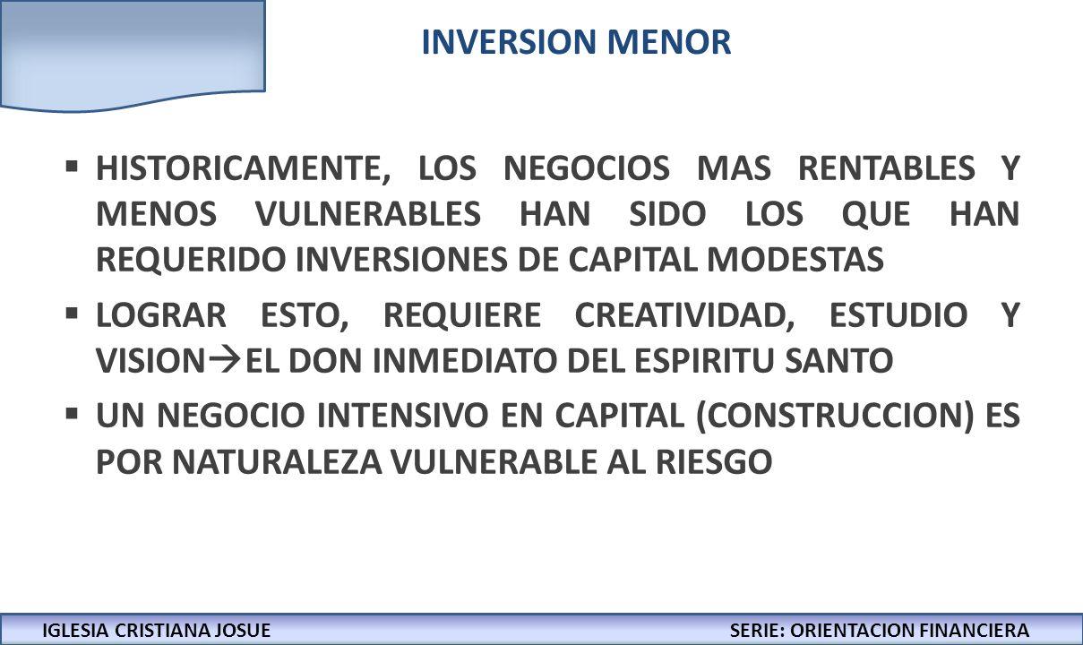 INVERSION MENOR HISTORICAMENTE, LOS NEGOCIOS MAS RENTABLES Y MENOS VULNERABLES HAN SIDO LOS QUE HAN REQUERIDO INVERSIONES DE CAPITAL MODESTAS.