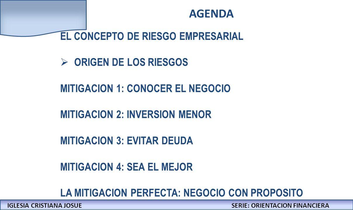 AGENDA EL CONCEPTO DE RIESGO EMPRESARIAL ORIGEN DE LOS RIESGOS