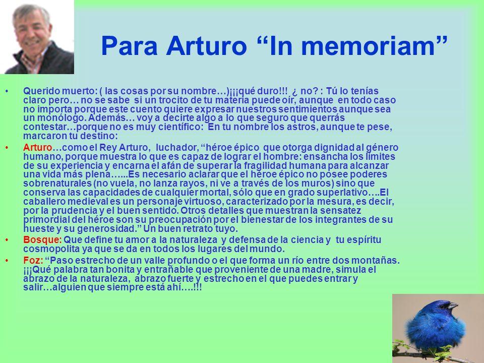 Para Arturo In memoriam