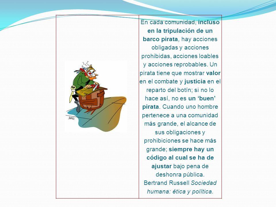 En cada comunidad, incluso en la tripulación de un barco pirata, hay acciones obligadas y acciones prohibidas, acciones loables y acciones reprobables.