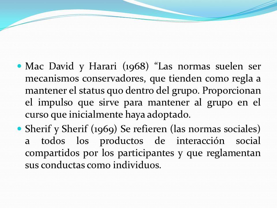 Mac David y Harari (1968) Las normas suelen ser mecanismos conservadores, que tienden como regla a mantener el status quo dentro del grupo. Proporcionan el impulso que sirve para mantener al grupo en el curso que inicialmente haya adoptado.
