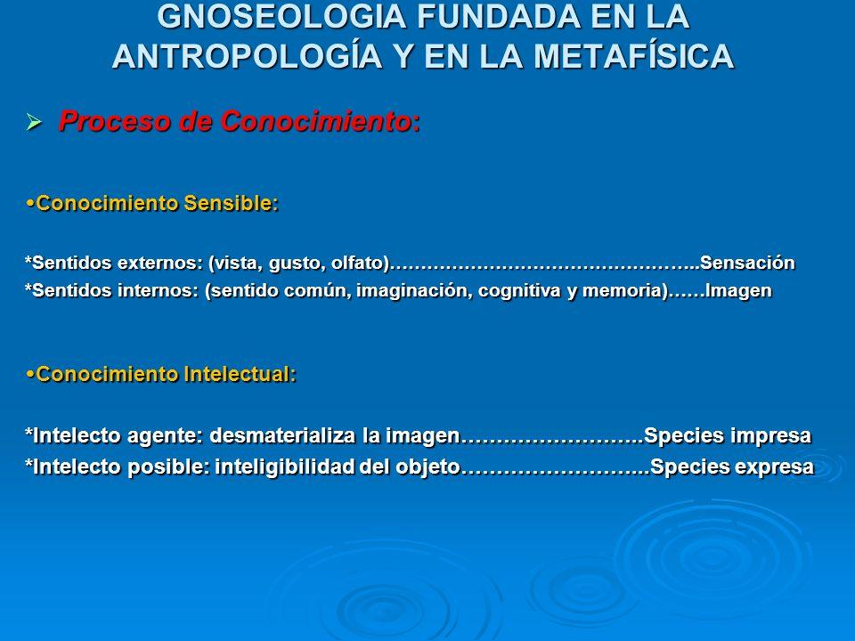 GNOSEOLOGIA FUNDADA EN LA ANTROPOLOGÍA Y EN LA METAFÍSICA