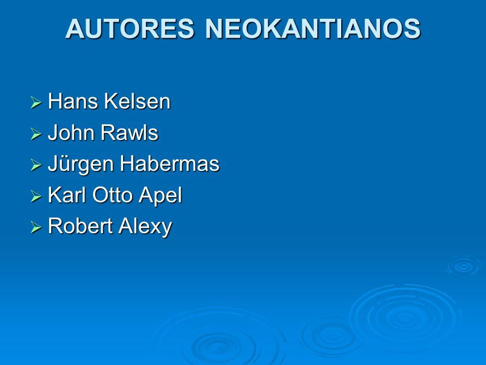 AUTORES NEOKANTIANOS Hans Kelsen John Rawls Jürgen Habermas