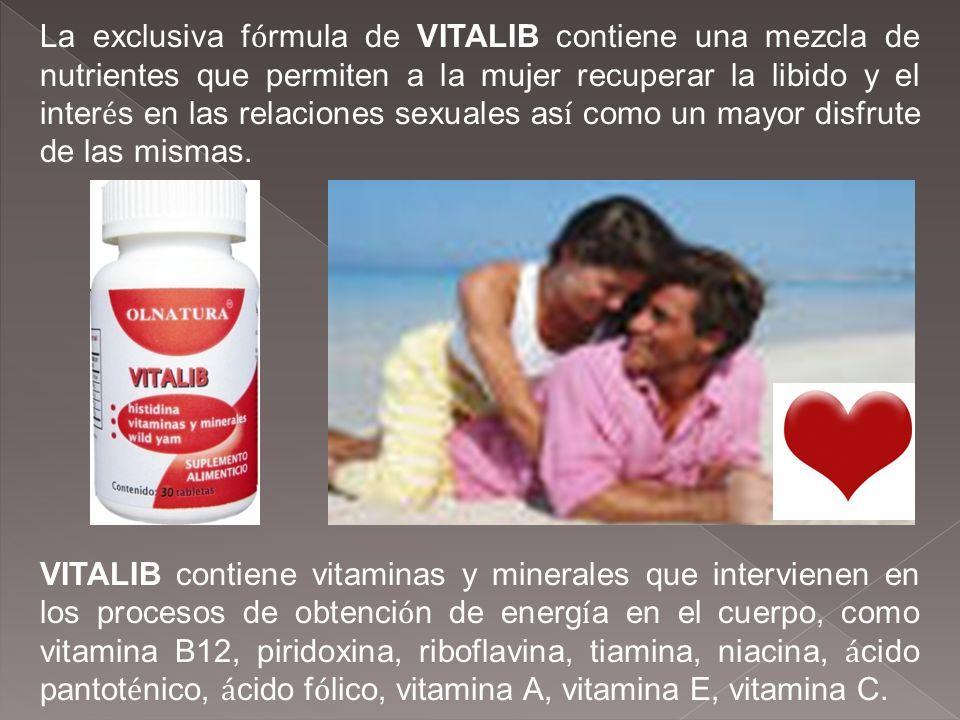 La exclusiva fórmula de VITALIB contiene una mezcla de nutrientes que permiten a la mujer recuperar la libido y el interés en las relaciones sexuales así como un mayor disfrute de las mismas.