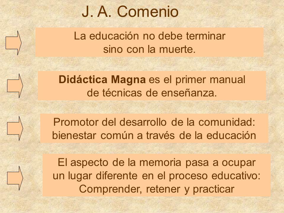J. A. Comenio La educación no debe terminar sino con la muerte.