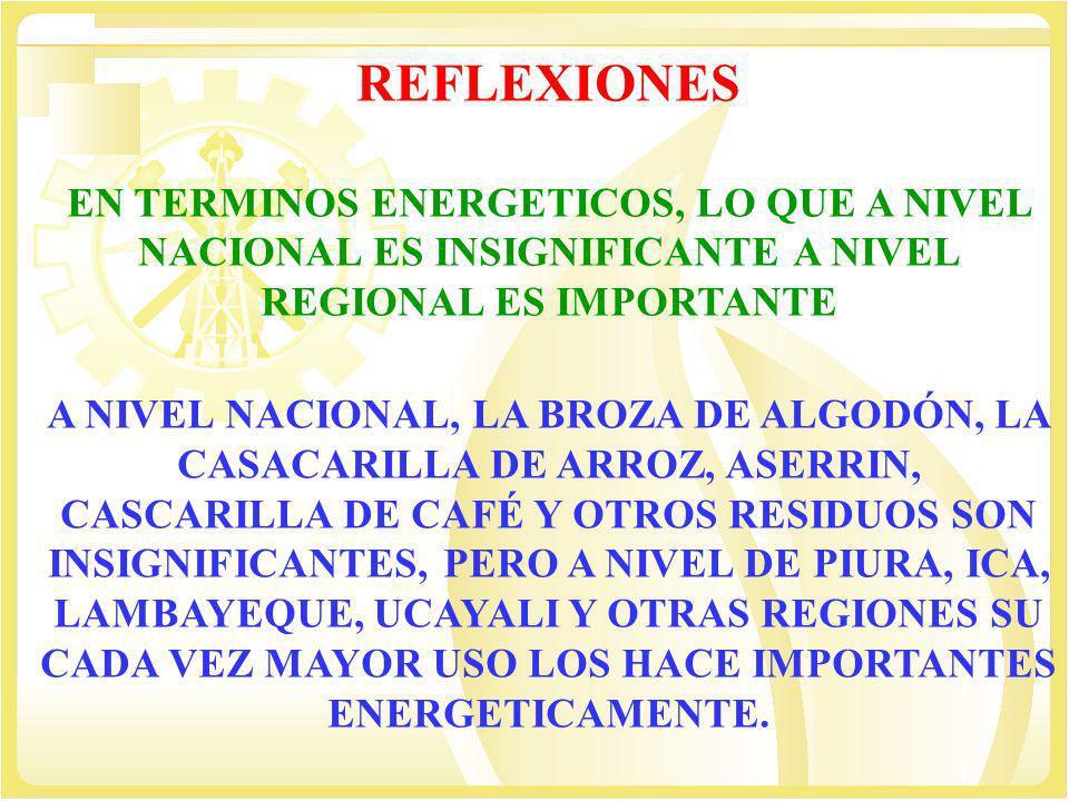 REFLEXIONES EN TERMINOS ENERGETICOS, LO QUE A NIVEL NACIONAL ES INSIGNIFICANTE A NIVEL REGIONAL ES IMPORTANTE.