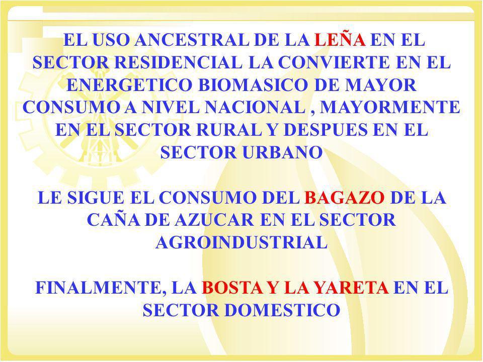 FINALMENTE, LA BOSTA Y LA YARETA EN EL SECTOR DOMESTICO