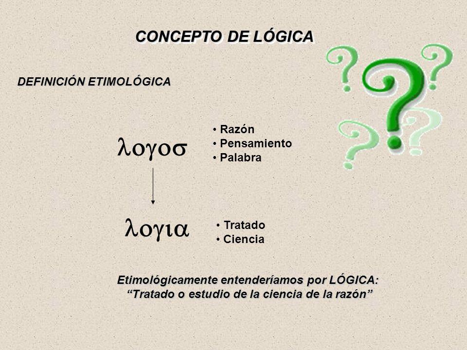 logos logia CONCEPTO DE LÓGICA DEFINICIÓN ETIMOLÓGICA Razón
