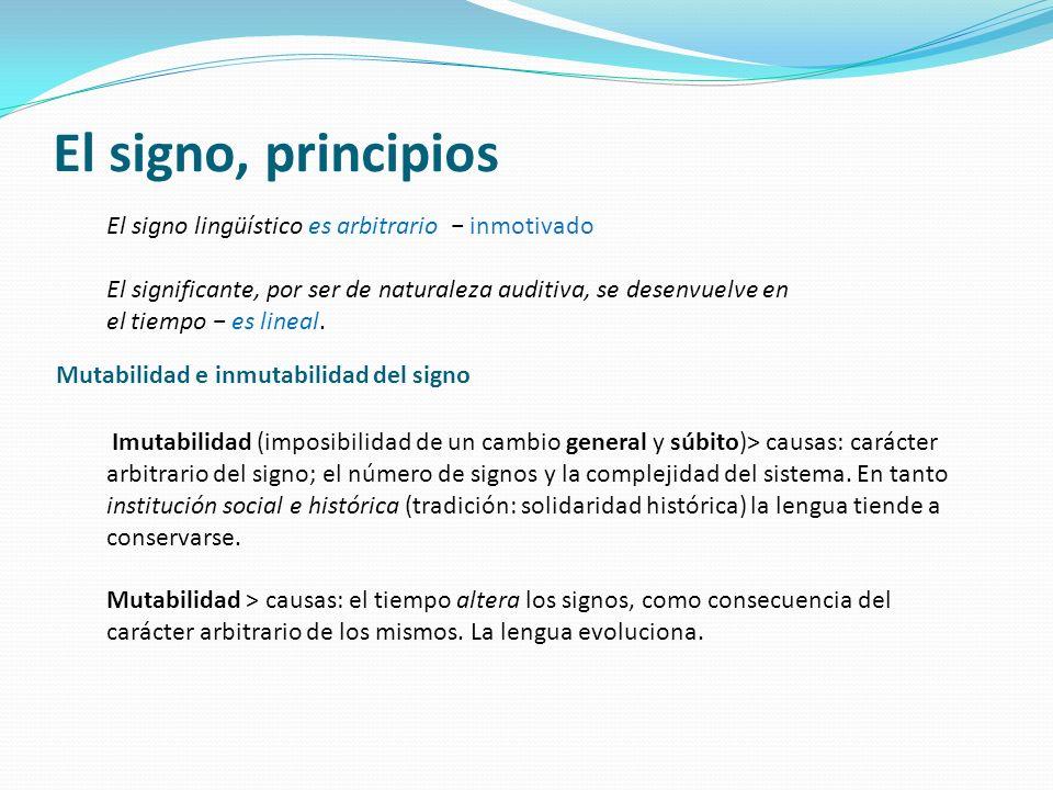 El signo, principios El signo lingüístico es arbitrario − inmotivado