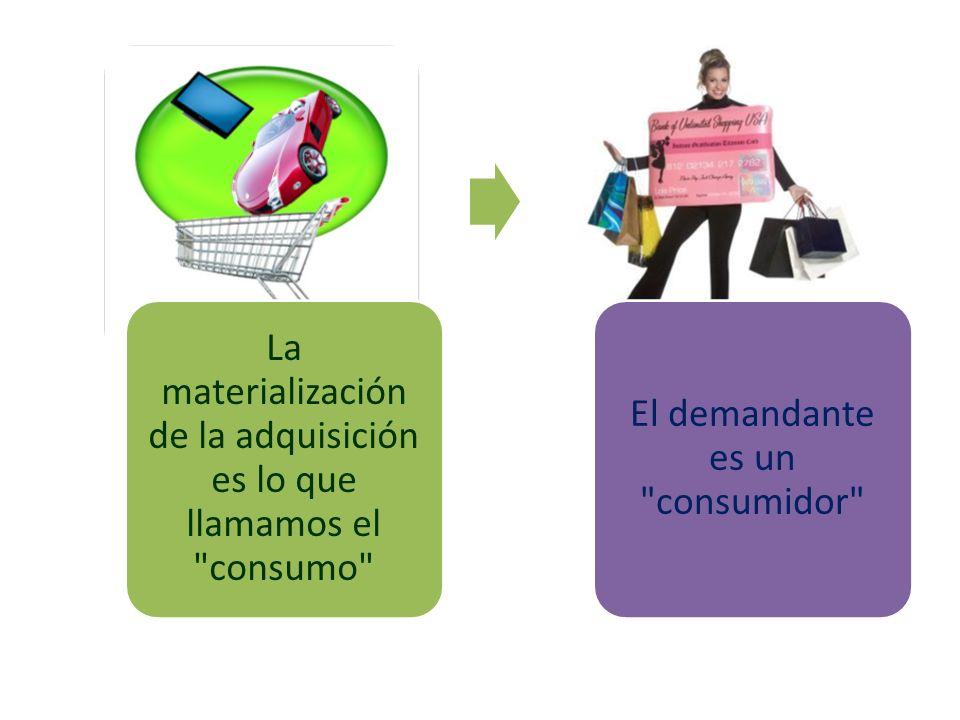 La materialización de la adquisición es lo que llamamos el consumo