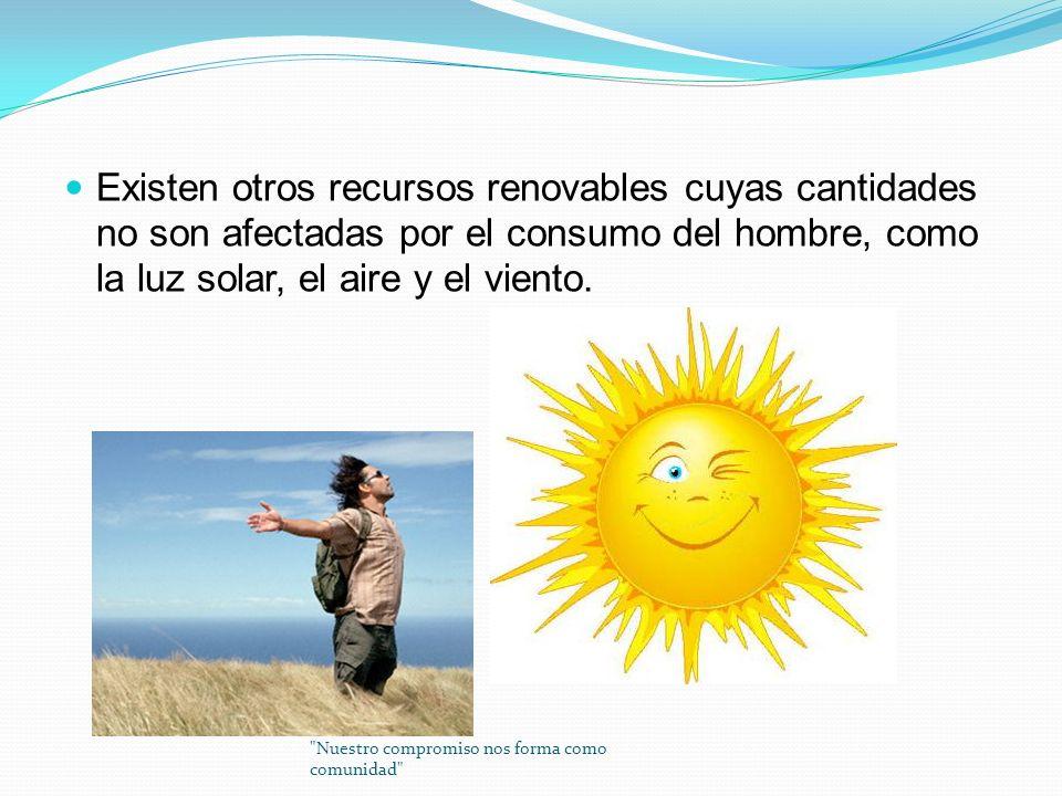 Existen otros recursos renovables cuyas cantidades no son afectadas por el consumo del hombre, como la luz solar, el aire y el viento.
