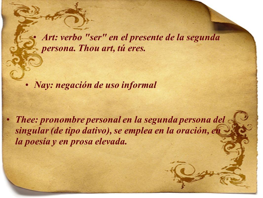 Art: verbo ser en el presente de la segunda persona