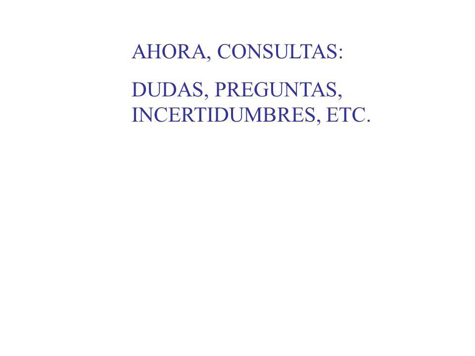 AHORA, CONSULTAS: DUDAS, PREGUNTAS, INCERTIDUMBRES, ETC.