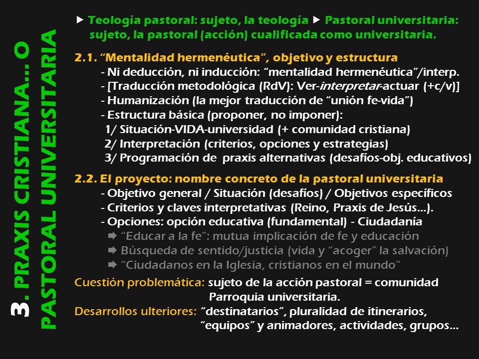 3. PRAXIS CRISTIANA… O PASTORAL UNIVERSITARIA