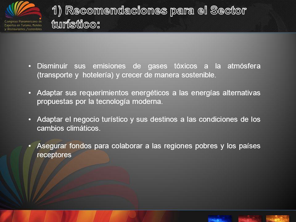 1) Recomendaciones para el Sector turístico: