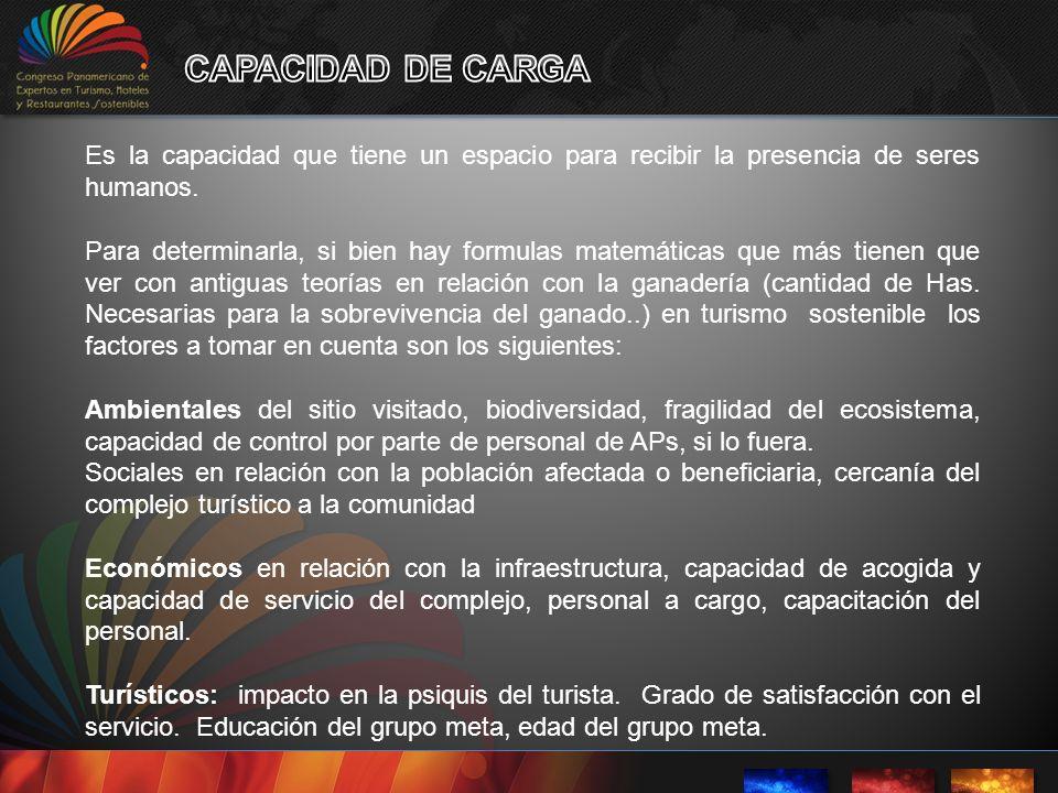 CAPACIDAD DE CARGA Es la capacidad que tiene un espacio para recibir la presencia de seres humanos.
