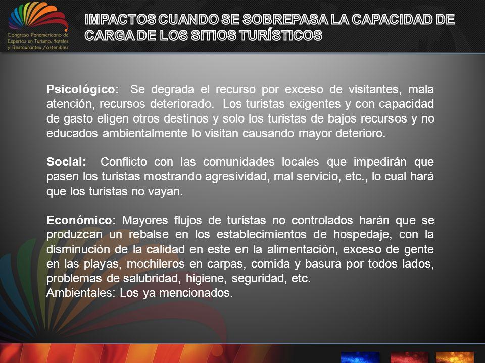 IMPACTOS CUANDO SE SOBREPASA LA CAPACIDAD DE CARGA DE LOS SITIOS TURÍSTICOS